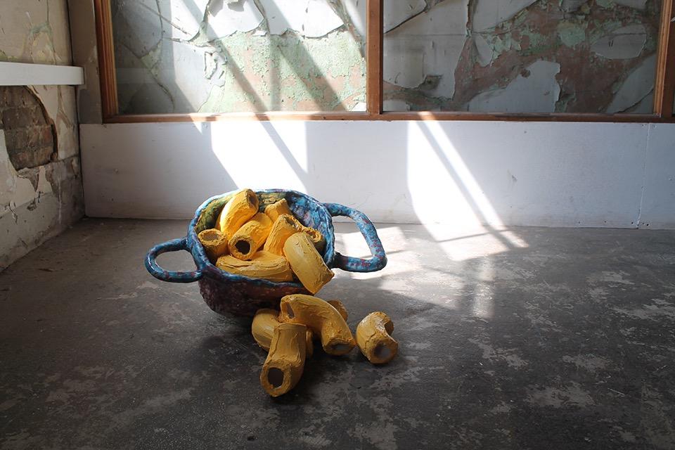 'Macaroni in the pot, after Cardi B', 62 x 62 x 18cm, ceramic and silicone by Annie Shrosbree